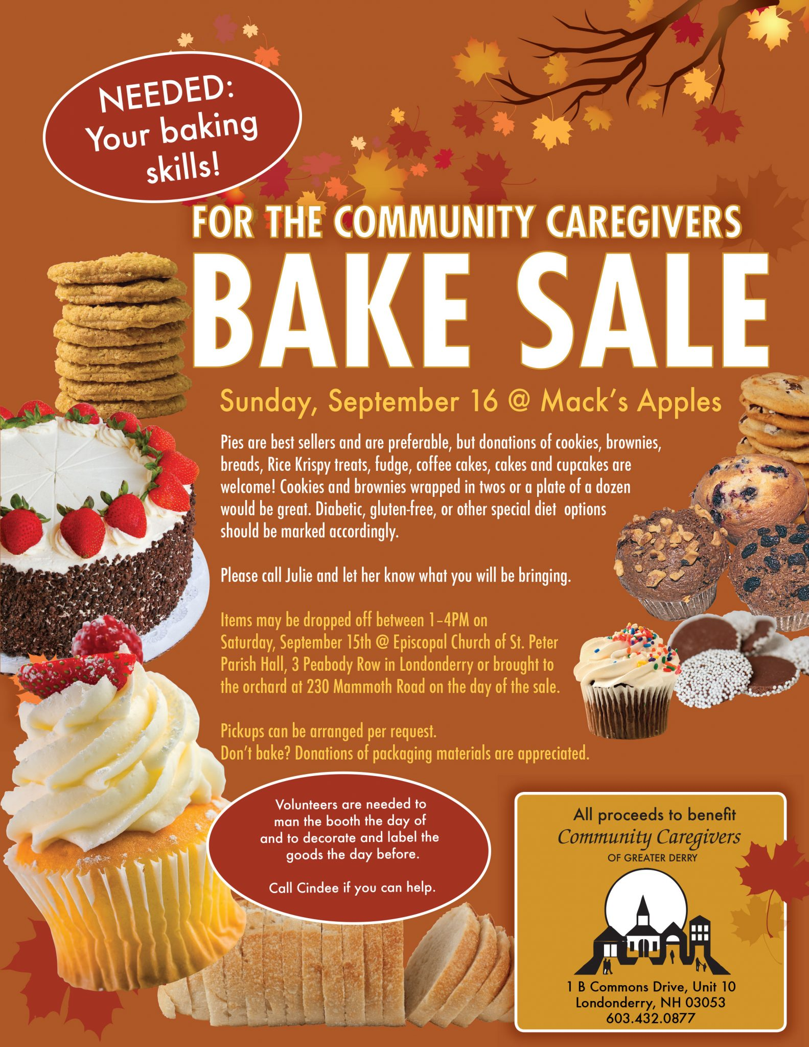 community caregivers bakers needed 2018 8 a benefit bake sale